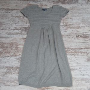 Gray Short Sleeve Maternity Knit Midi Dress